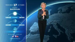 Evelyne Dhéliat à la Météo du Soir - 16/10/18 - 02