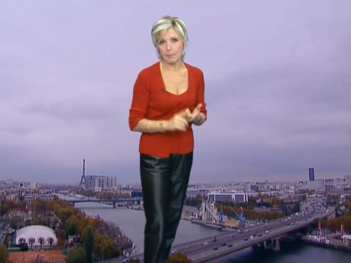 Evelyne Dhéliat à la Météo TF1. Diffusé à la télévision le 16/11/06.