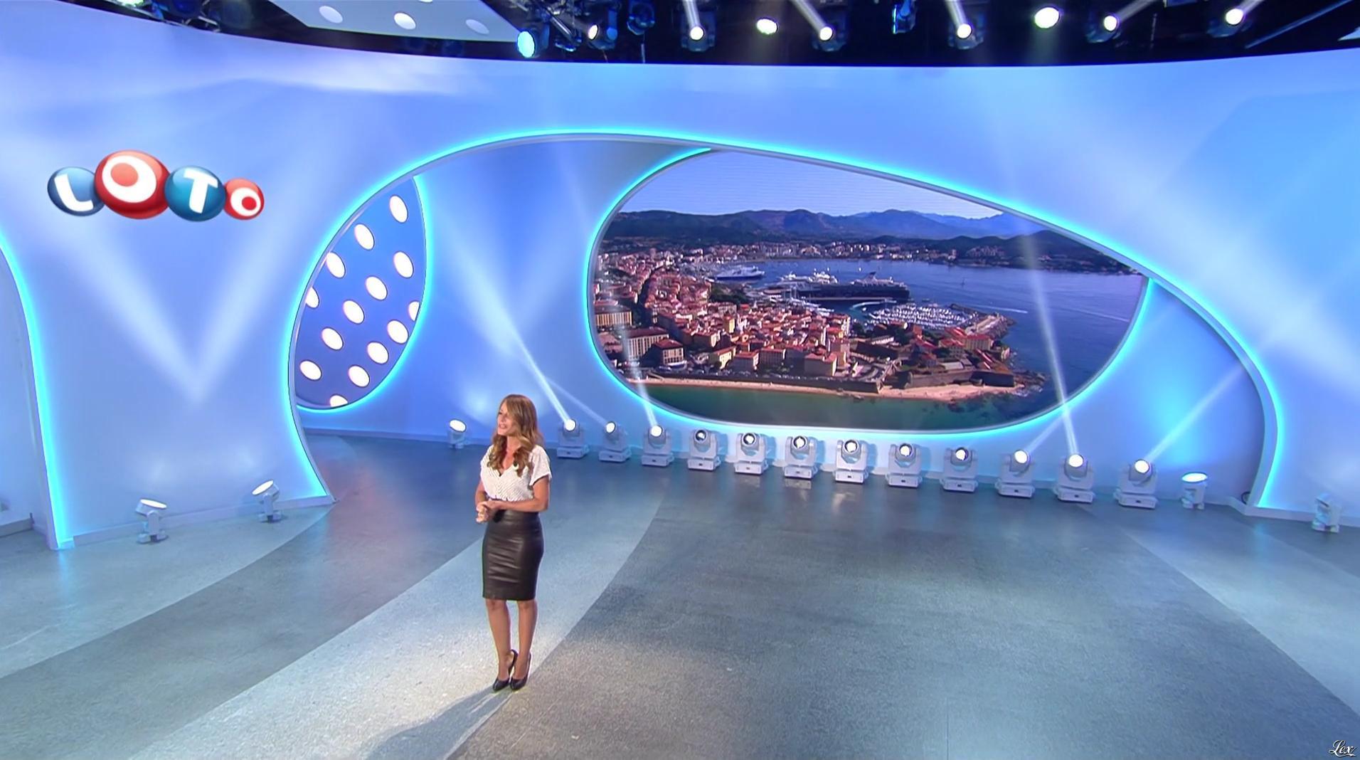 Elsa Fayer lors du Tirage du Loto. Diffusé à la télévision le 05/08/17.