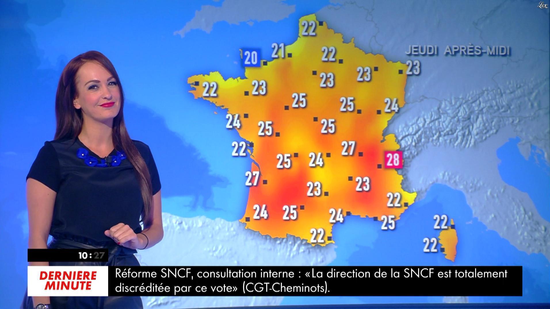 Alexandra Blanc à la Météo du Matin. Diffusé à la télévision le 23/05/18.