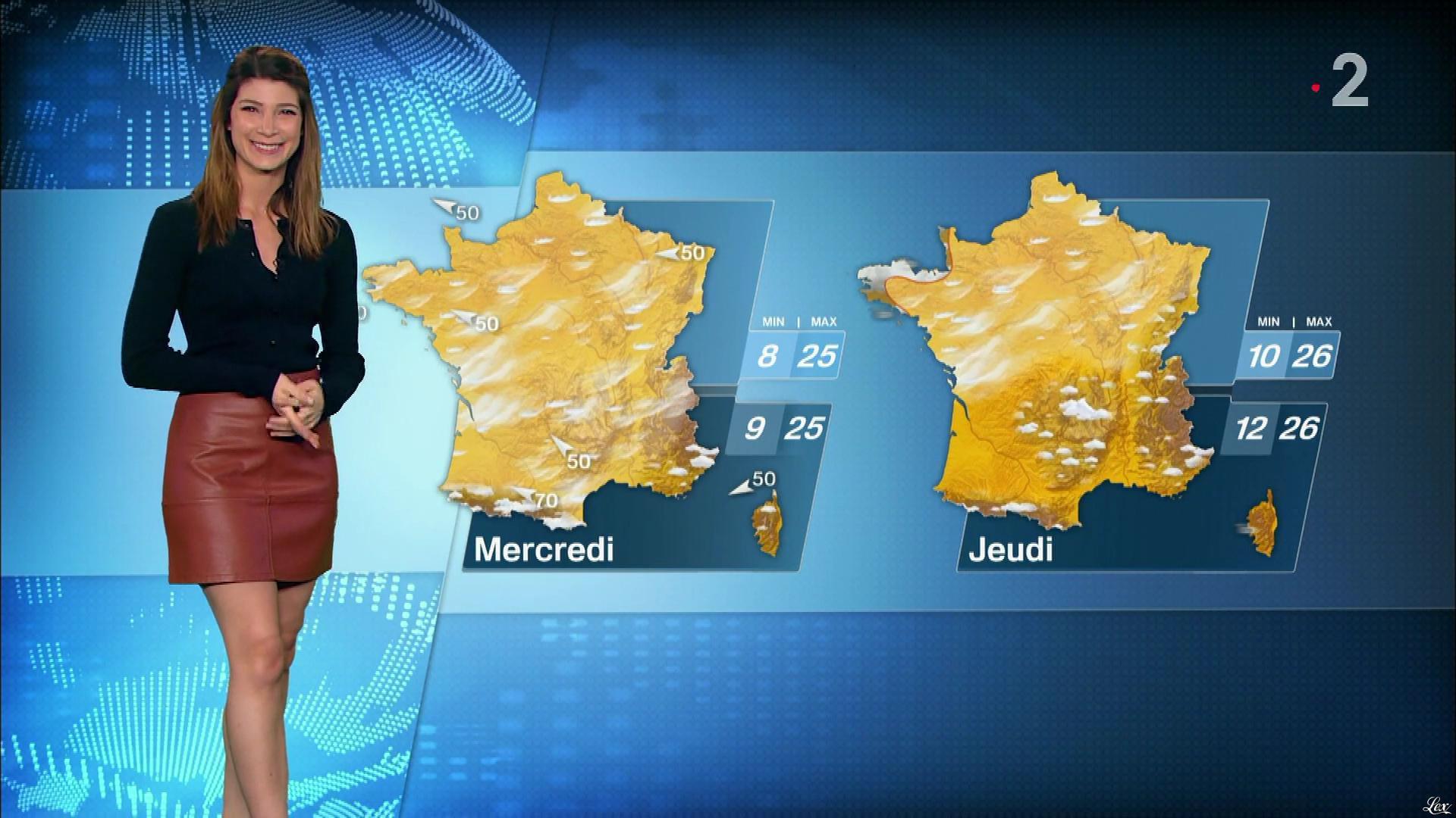 Chloé Nabédian à la Météo de Midi. Diffusé à la télévision le 16/04/18.