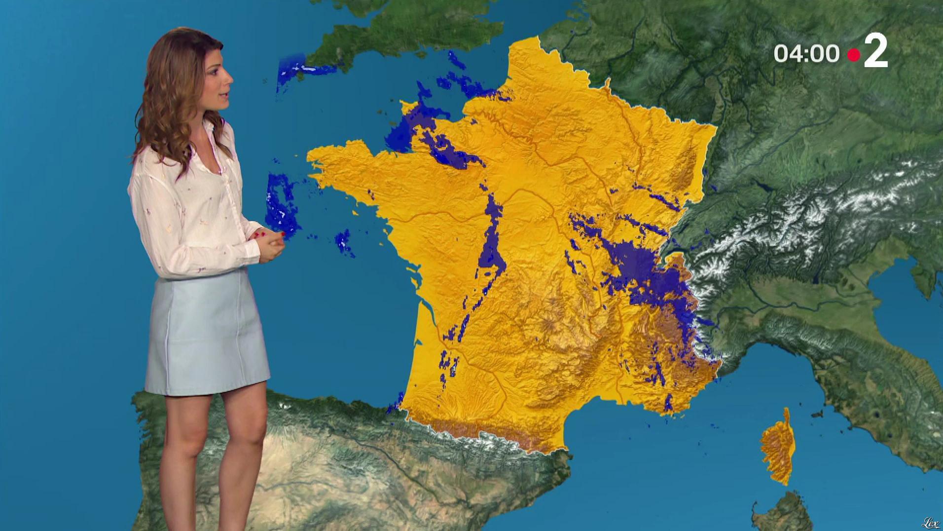 Chloé Nabédian à la Météo de Midi. Diffusé à la télévision le 27/05/18.