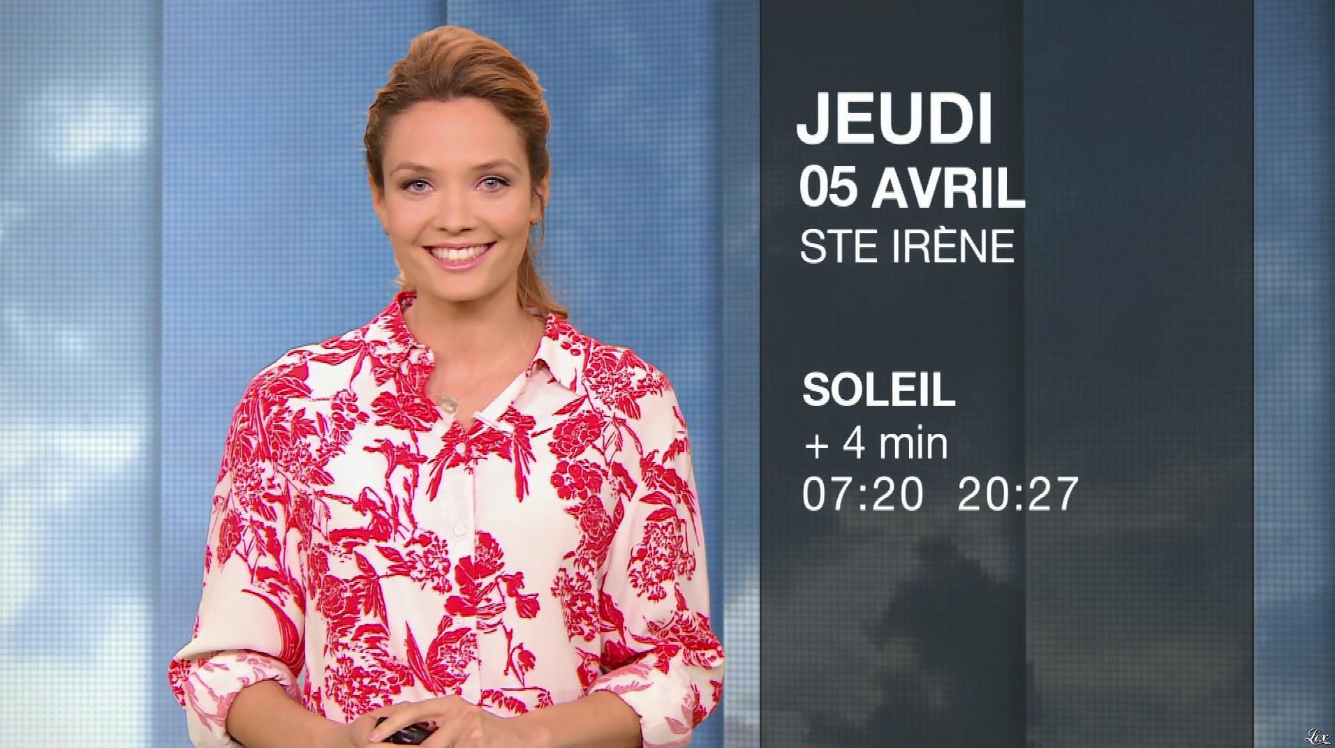 Gennifer Demey à la Météo du Soir. Diffusé à la télévision le 04/04/18.