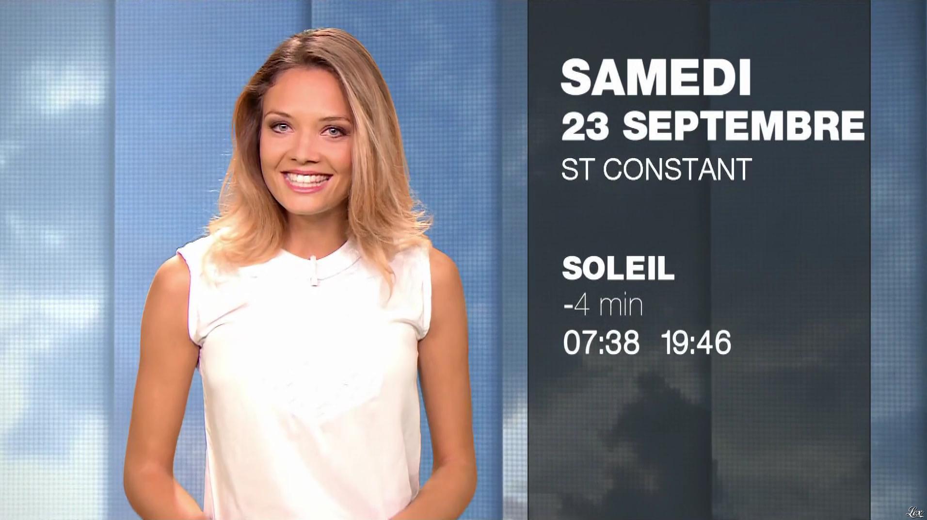 Gennifer Demey à la Météo du Soir. Diffusé à la télévision le 23/09/17.
