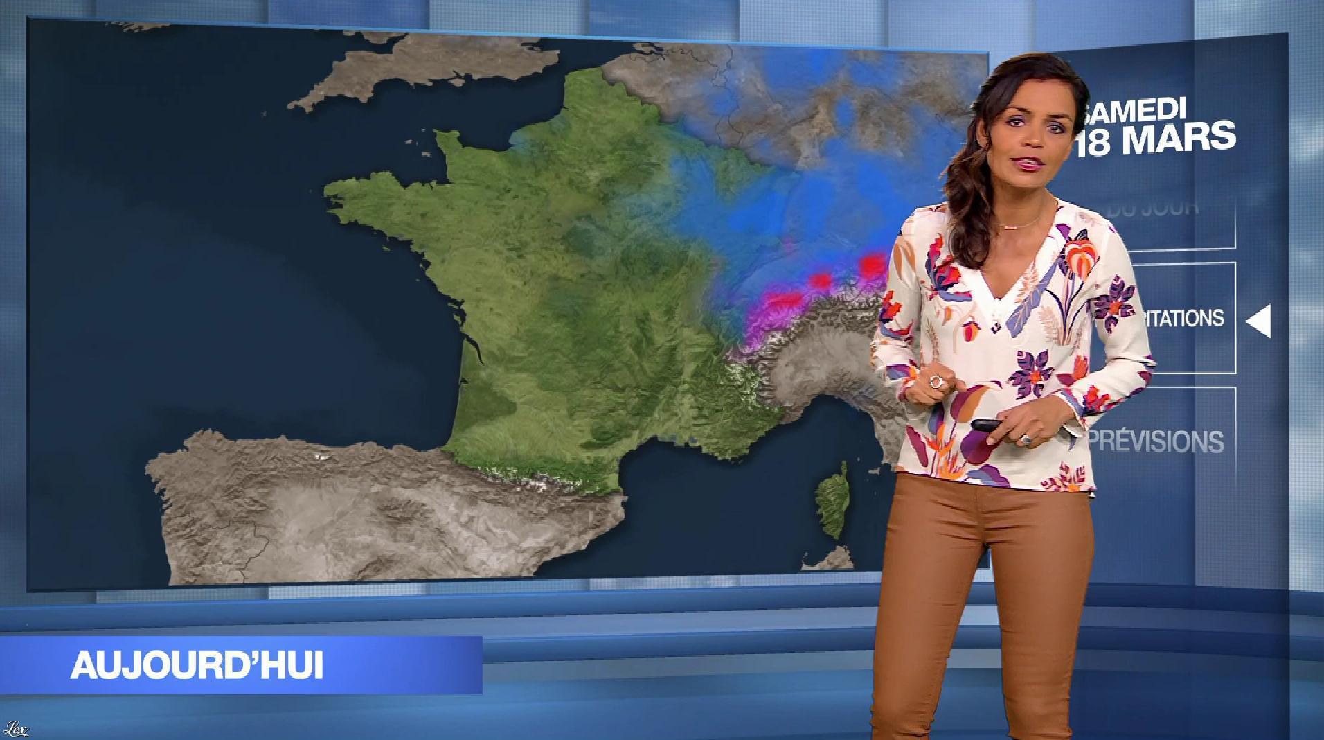 Laurence Roustandjee à la Météo du Soir. Diffusé à la télévision le 18/03/17.