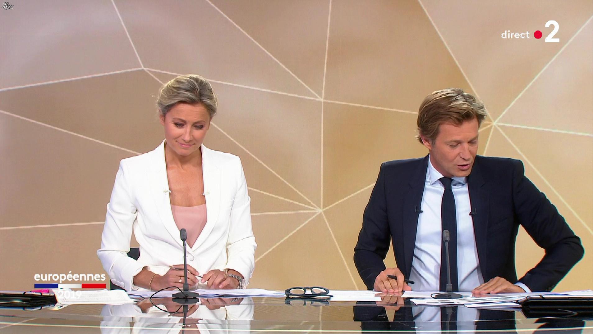 Anne-Sophie Lapix lors de la Soirée des Elections Europeennes. Diffusé à la télévision le 26/05/19.