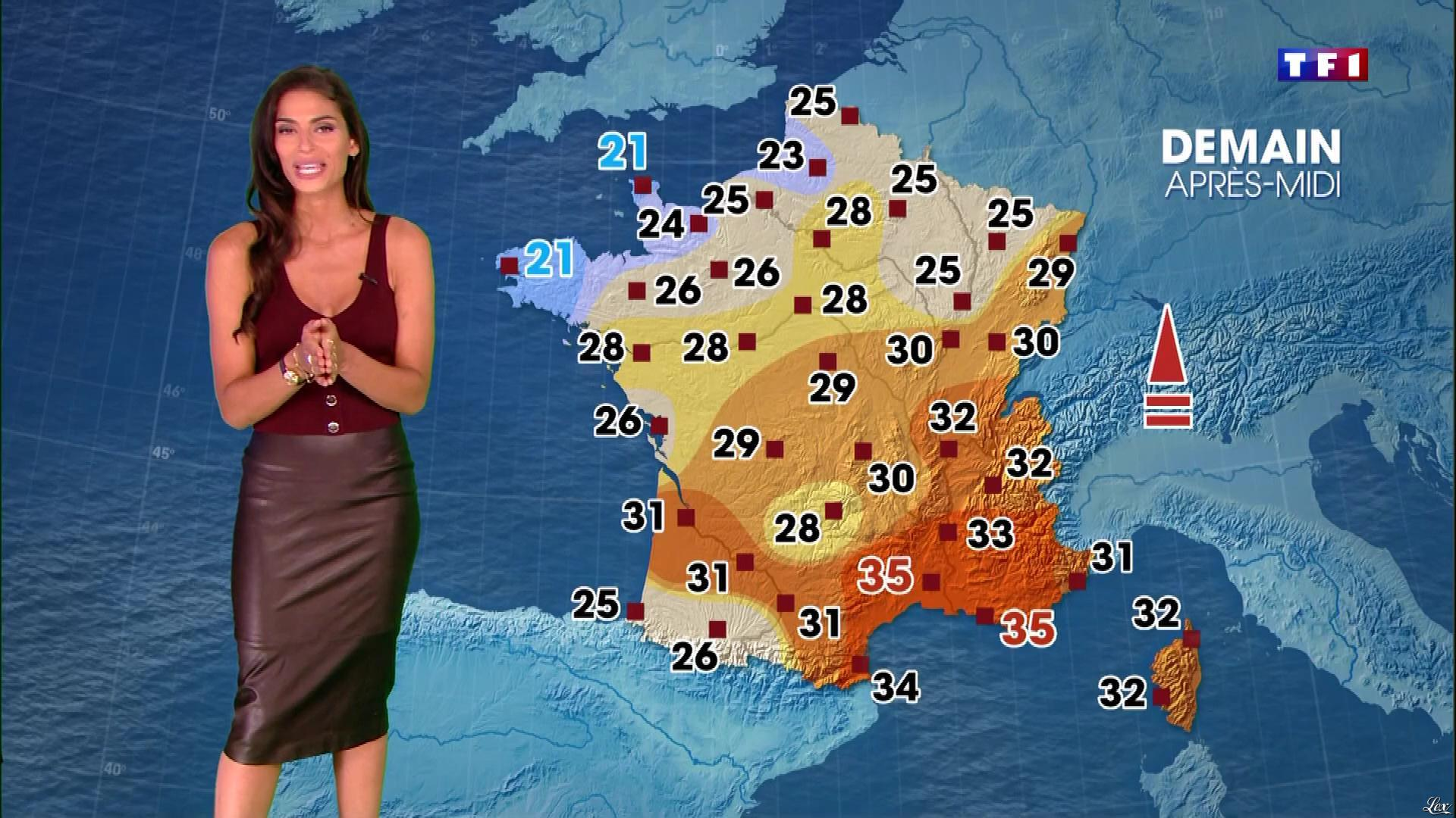 Tatiana Silva à la Météo du Soir. Diffusé à la télévision le 19/08/18.