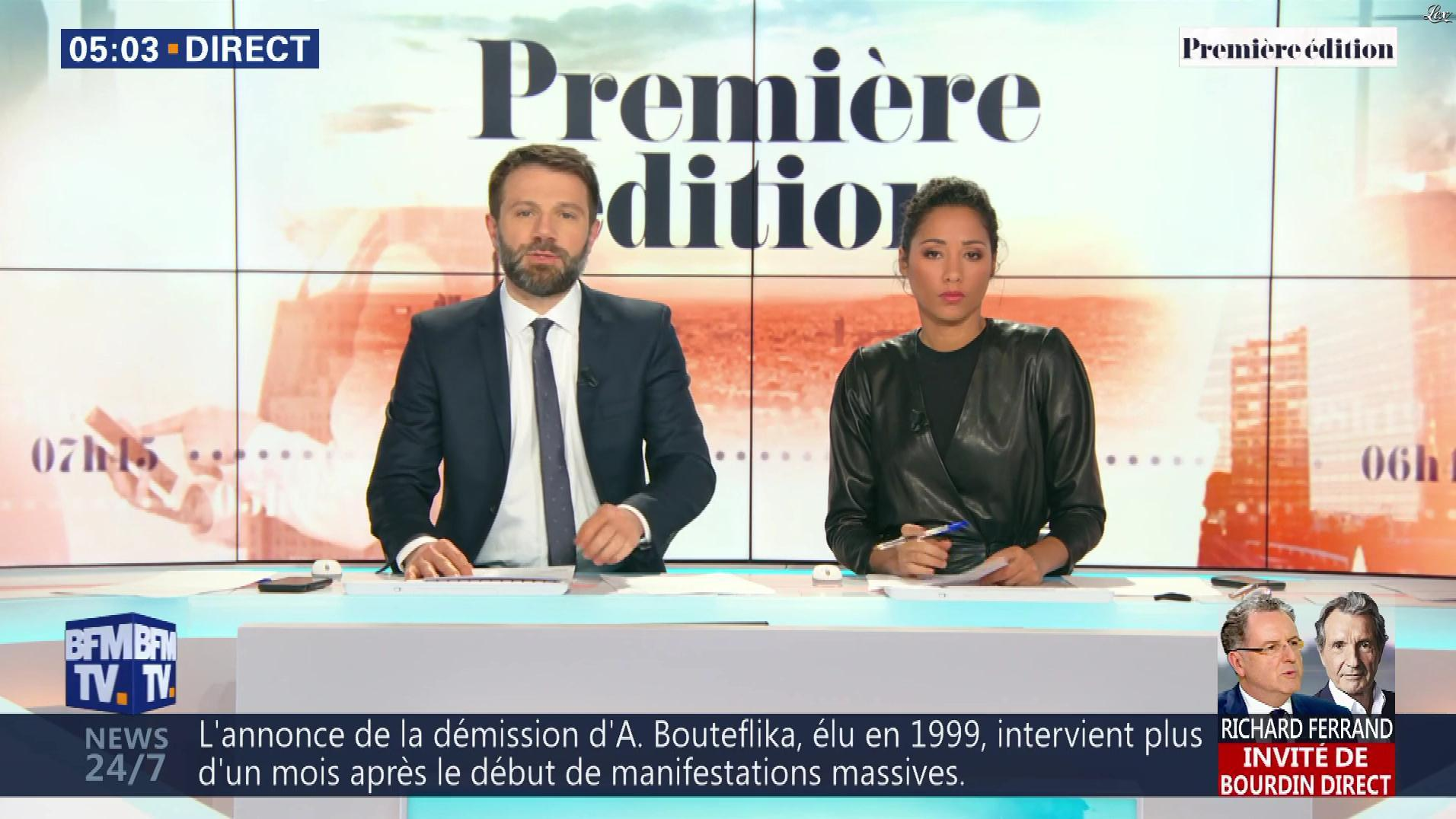 Virginie Sainsily dans Première Edition. Diffusé à la télévision le 02/04/19.