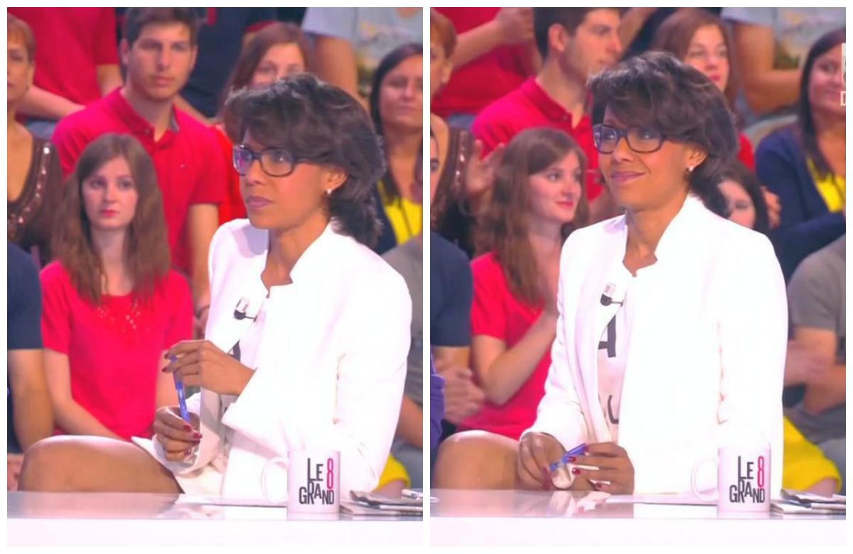 Collage de Audrey Pulvar dans le Grand 8. Diffusé à la télévision le 11/05/15.