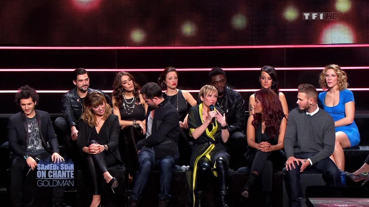 Chimène Badi, Alizée, Lorie, Sofia Essaidi et Patricia Kaas dans Samedi Soir On Chante Goldman. Diffusé à la télévision le 19/01/13.