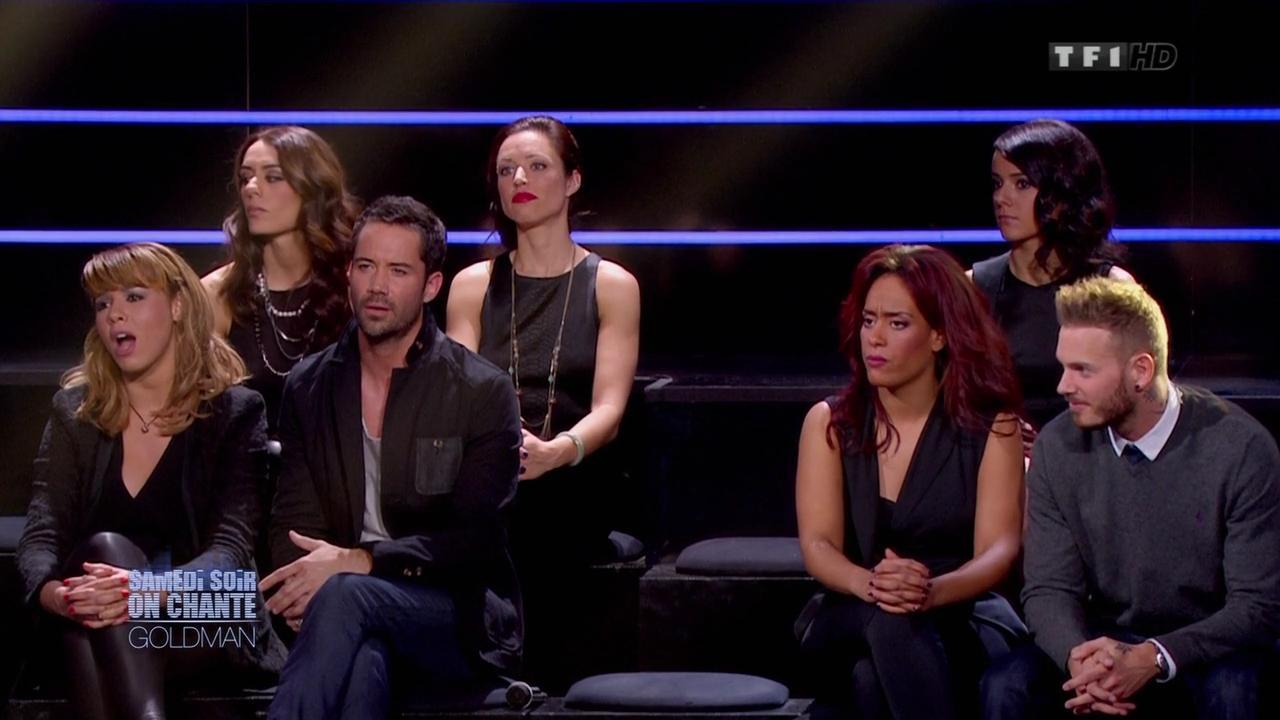 Chimène Badi, Alizée et Sofia Essaidi dans Samedi Soir On Chante Goldman. Diffusé à la télévision le 19/01/13.