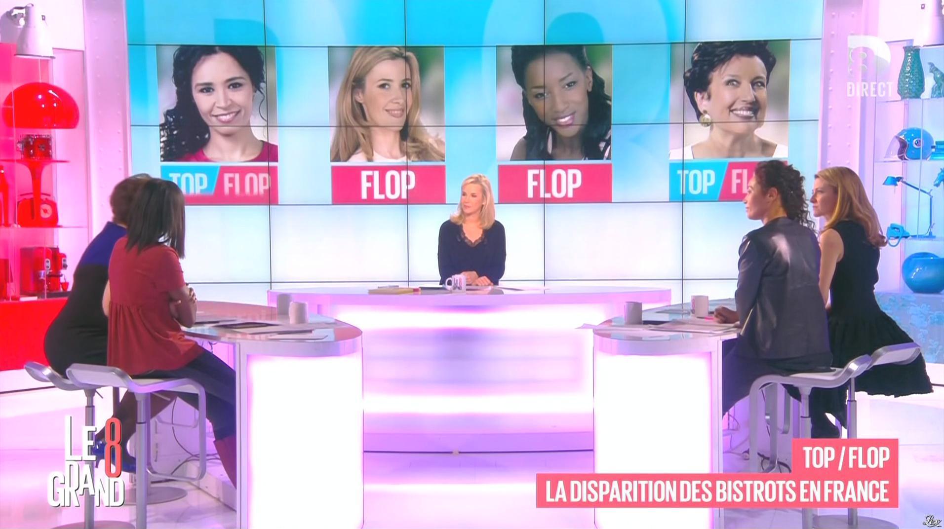 Laurence Ferrari, Hapsatou Sy et Aïda Touihri dans le Grand 8. Diffusé à la télévision le 20/01/16.