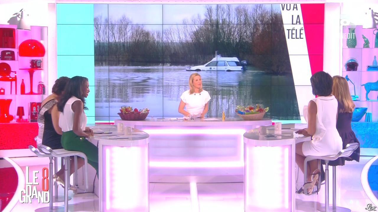 Laurence Ferrari, Hapsatou Sy et Audrey Pulvar dans le Grand 8. Diffusé à la télévision le 02/04/15.