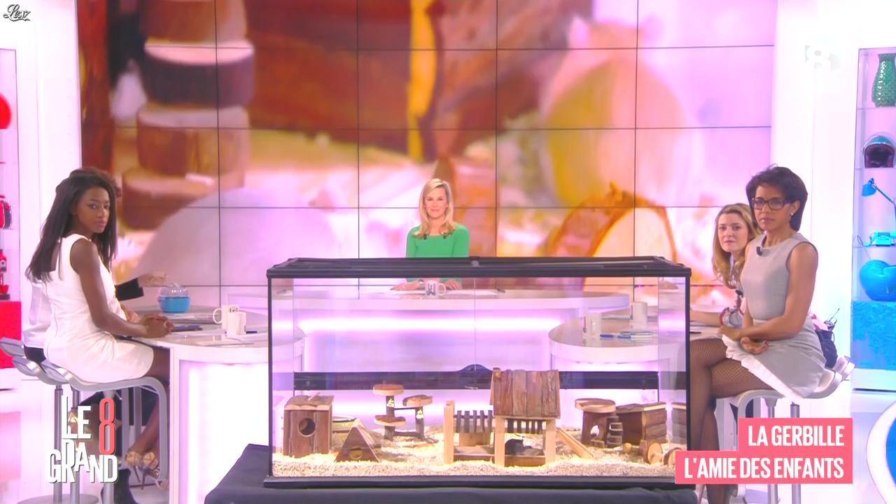 Laurence Ferrari, Hapsatou Sy et Audrey Pulvar dans le Grand 8. Diffusé à la télévision le 09/03/15.