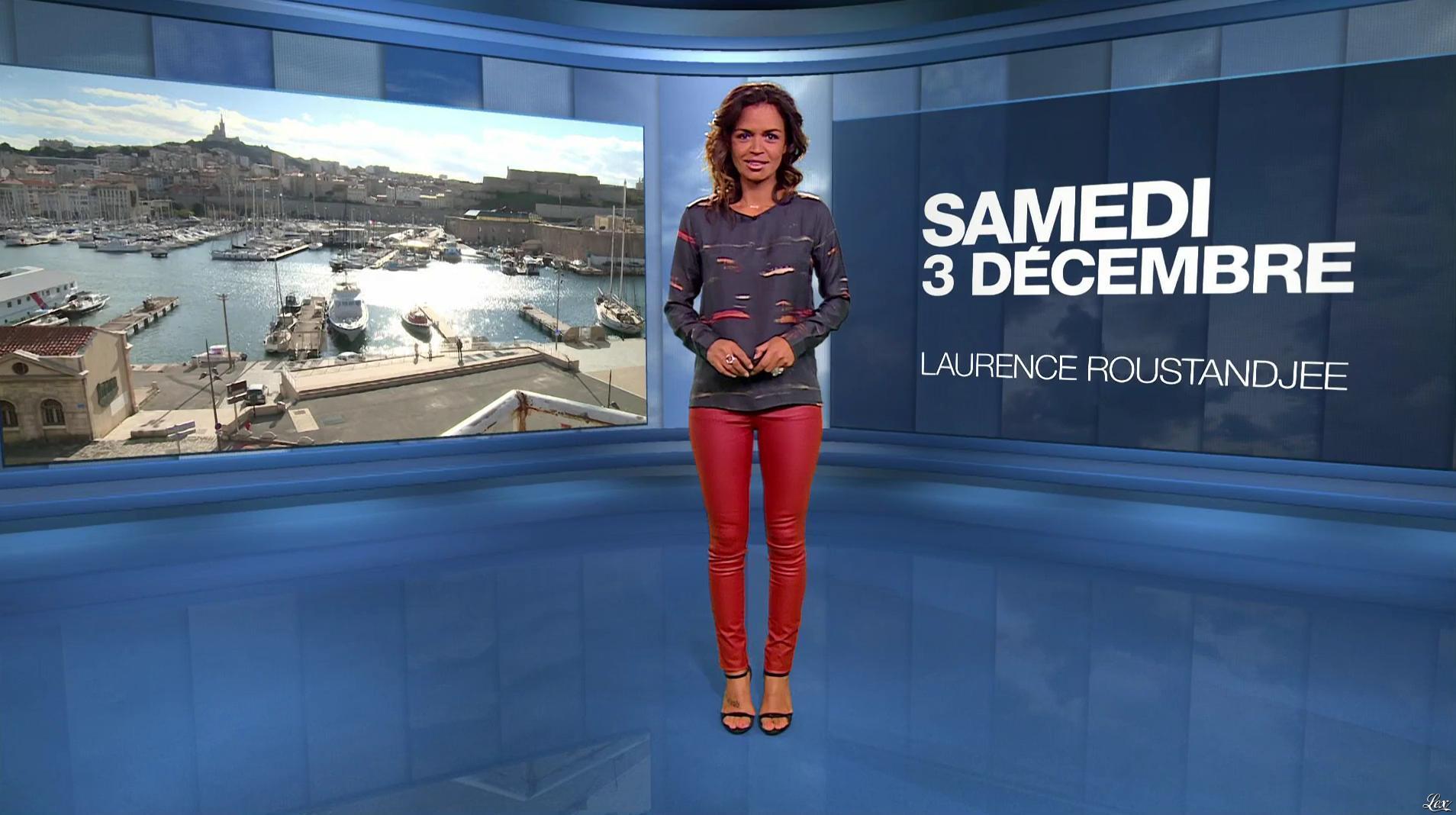 Laurence Roustandjee à la Météo du Soir. Diffusé à la télévision le 03/12/16.
