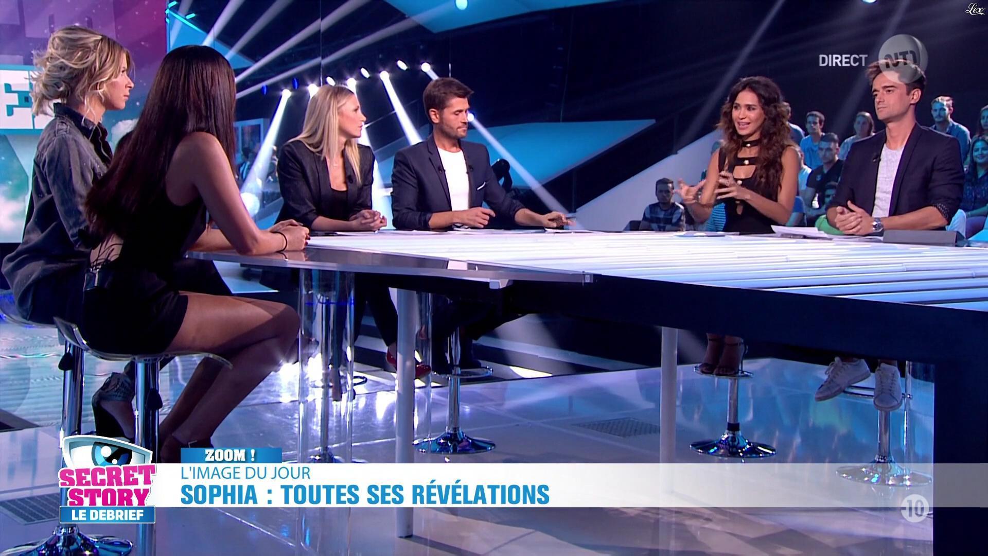 Leïla Ben Khalifa, Emilie Fiorelli et Sophia dans Secret Story le Debrief. Diffusé à la télévision le 09/09/16.