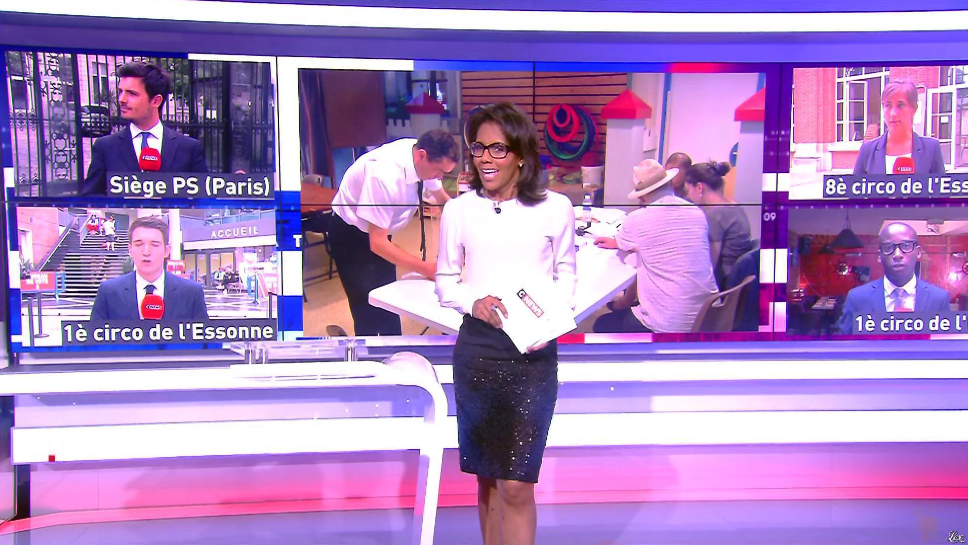 Audrey Pulvar lors du Premier Tour des Legislatives. Diffusé à la télévision le 11/06/17.