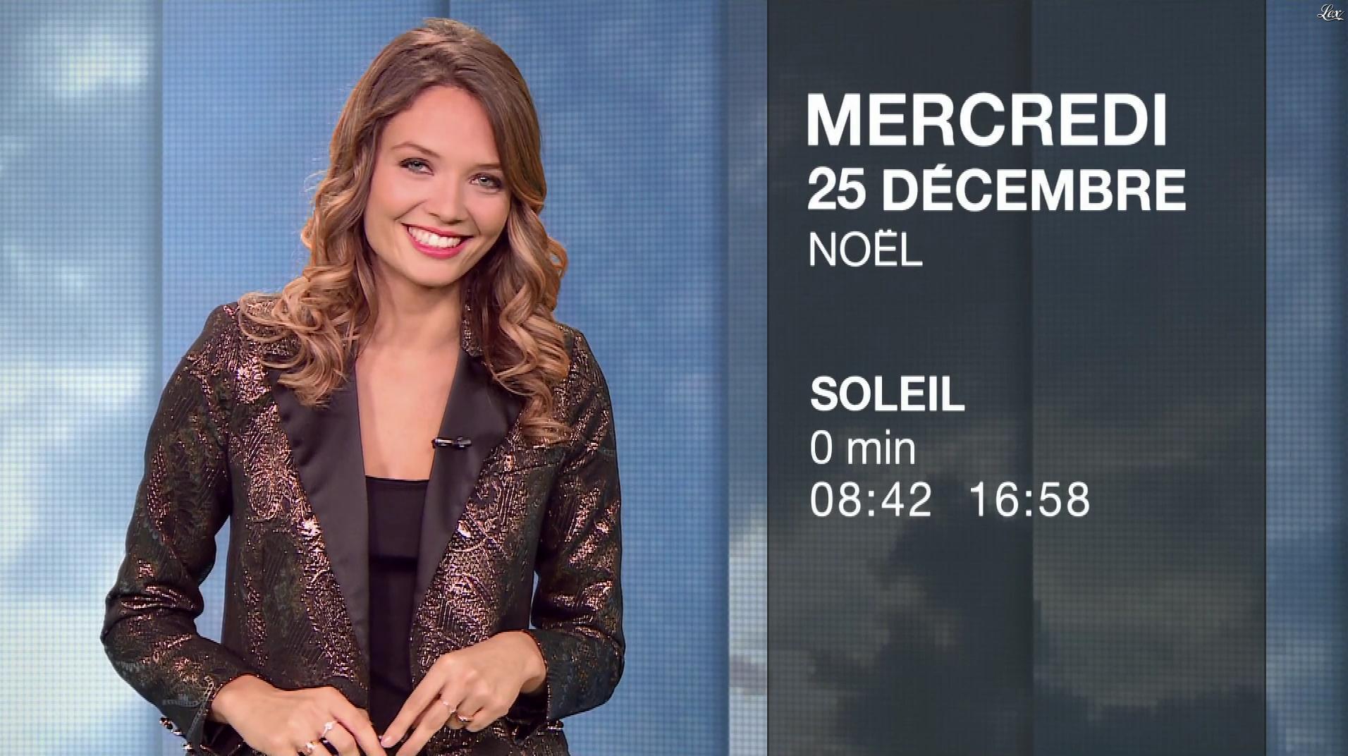 Gennifer Demey à la Météo du Soir. Diffusé à la télévision le 24/12/19.