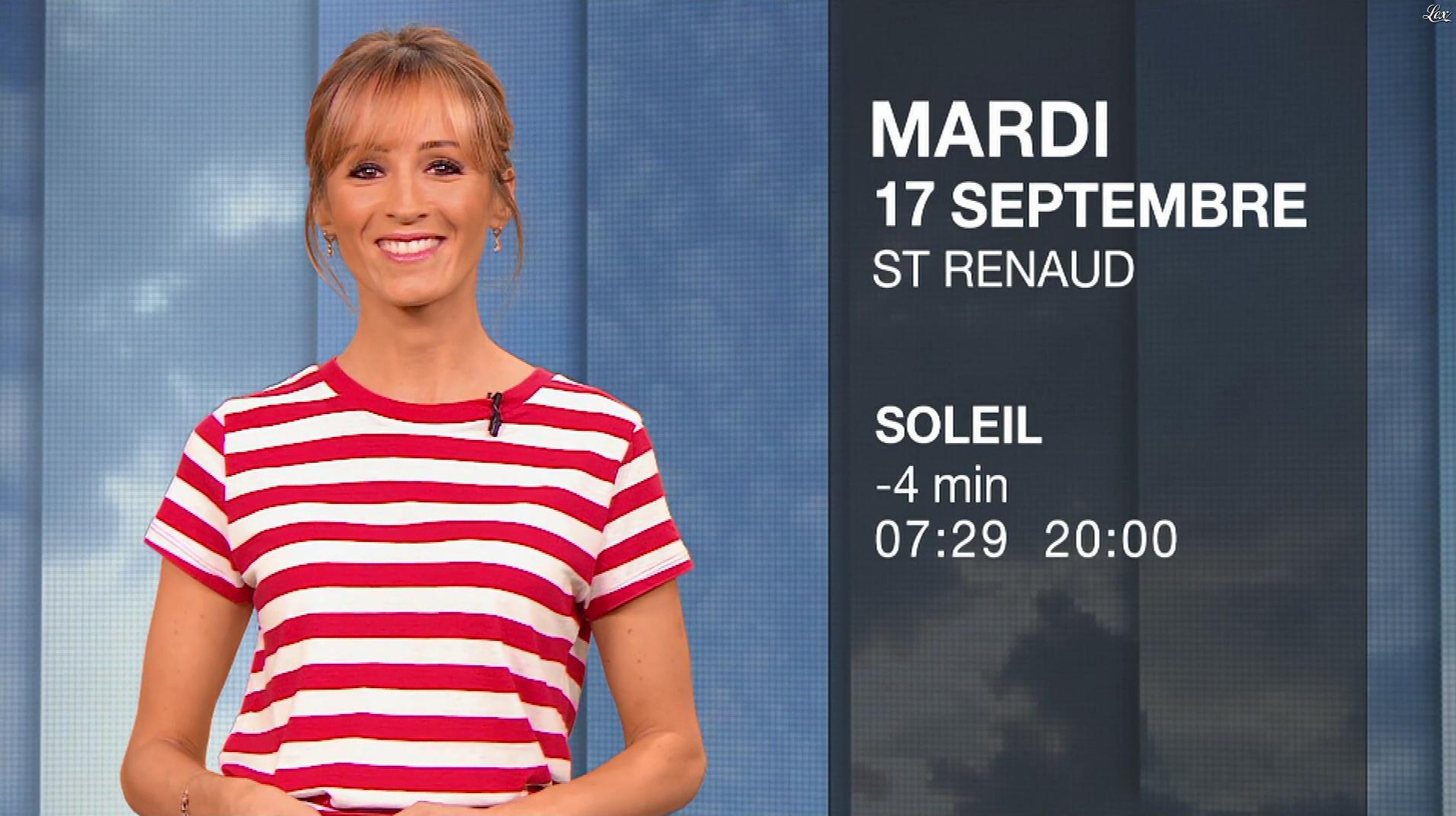 Stéphanie Duval à la Météo du Soir. Diffusé à la télévision le 16/09/19.