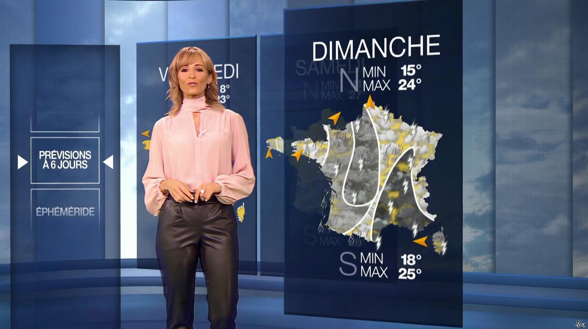 Stéphanie Duval à la Météo du Soir. Diffusé à la télévision le 18/09/19.