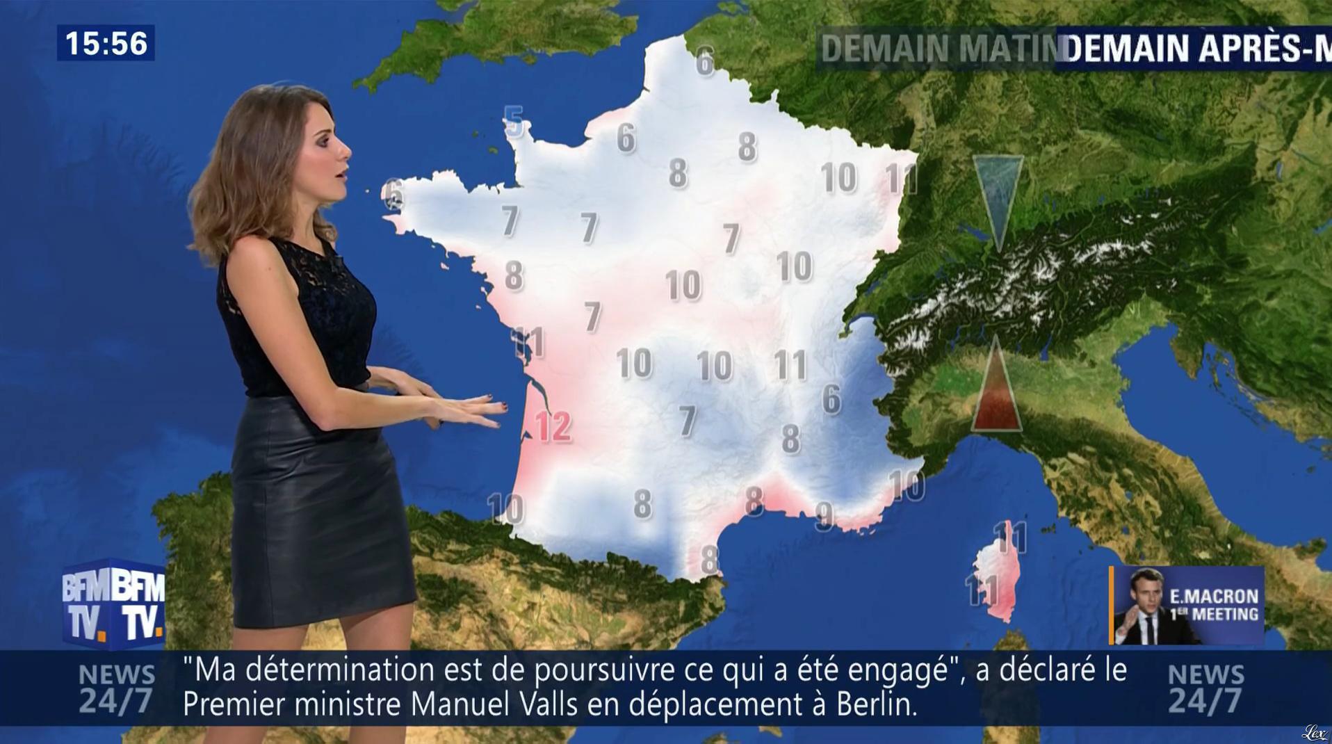 Fanny Agostini à la Météo de BFM TV. Diffusé à la télévision le 17/11/16.