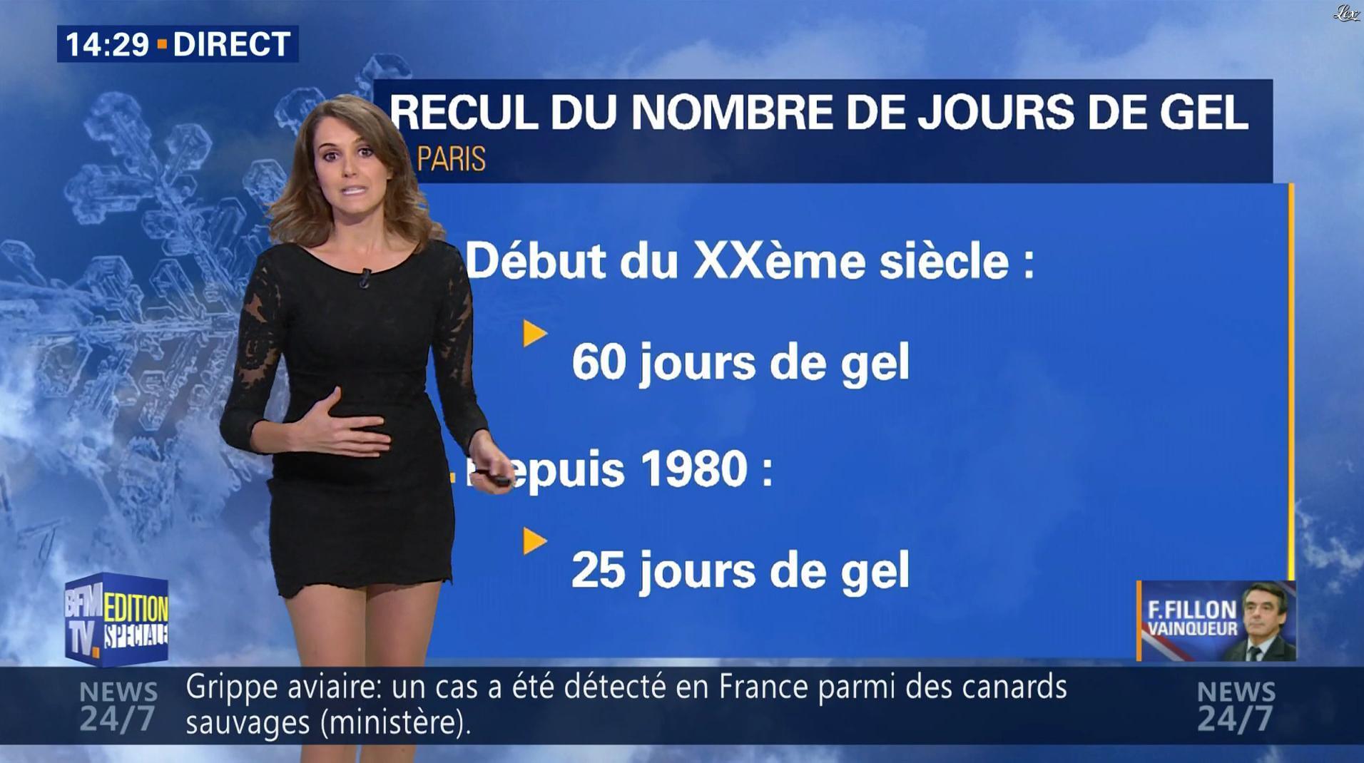 Fanny Agostini à la Météo de BFM TV. Diffusé à la télévision le 28/11/16.