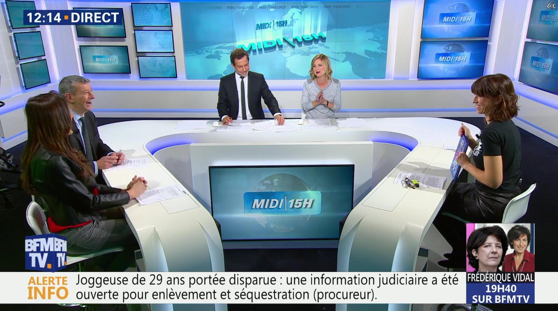 Daniela Prepeliuc et Candice Mahout à la Météo de BFM TV. Diffusé à la télévision le 30/10/17.