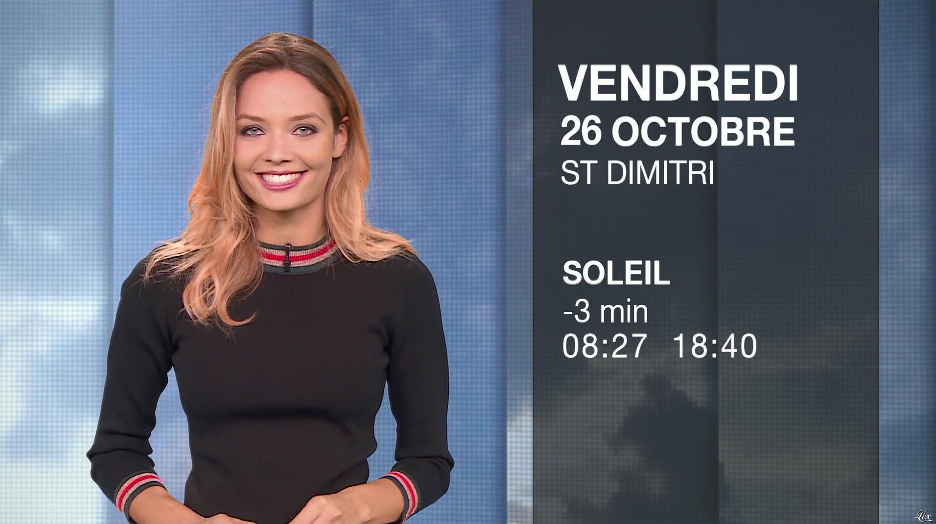 Gennifer Demey à la Météo. Diffusé à la télévision le 25/10/18.