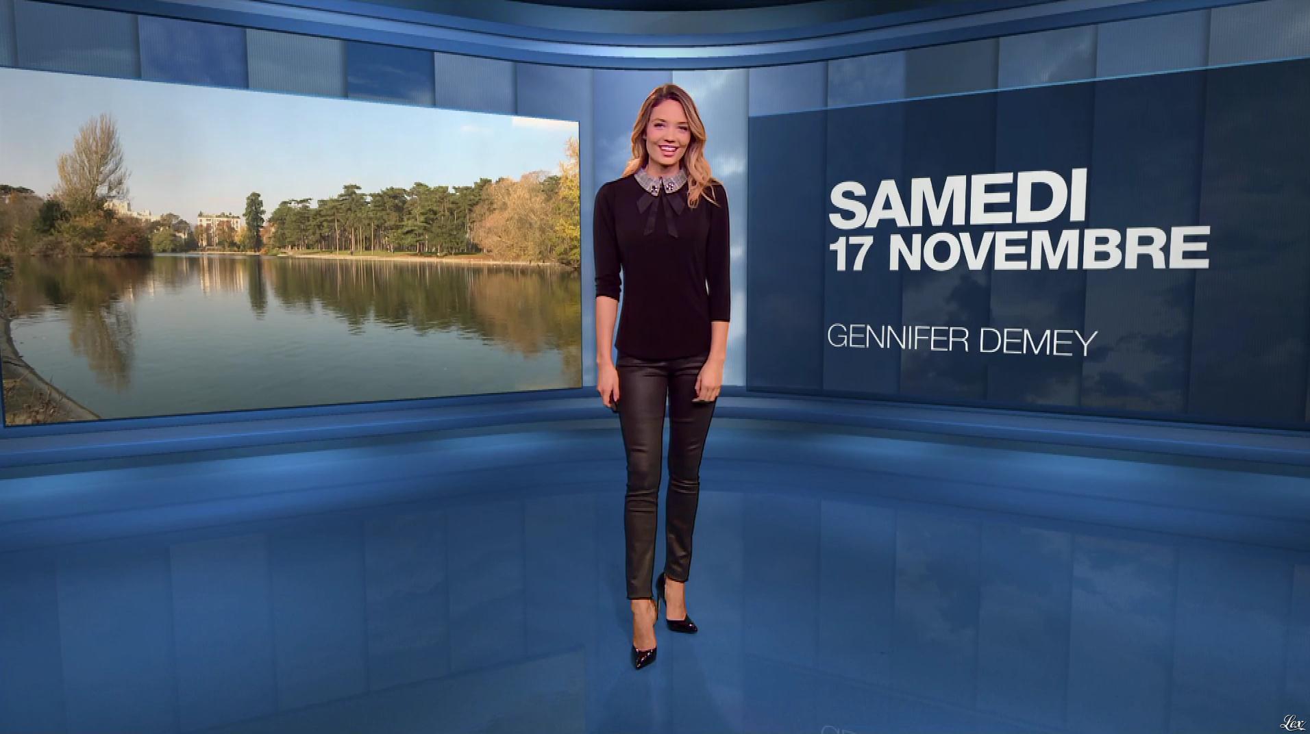 Gennifer Demey à la Météo du Soir. Diffusé à la télévision le 17/11/18.