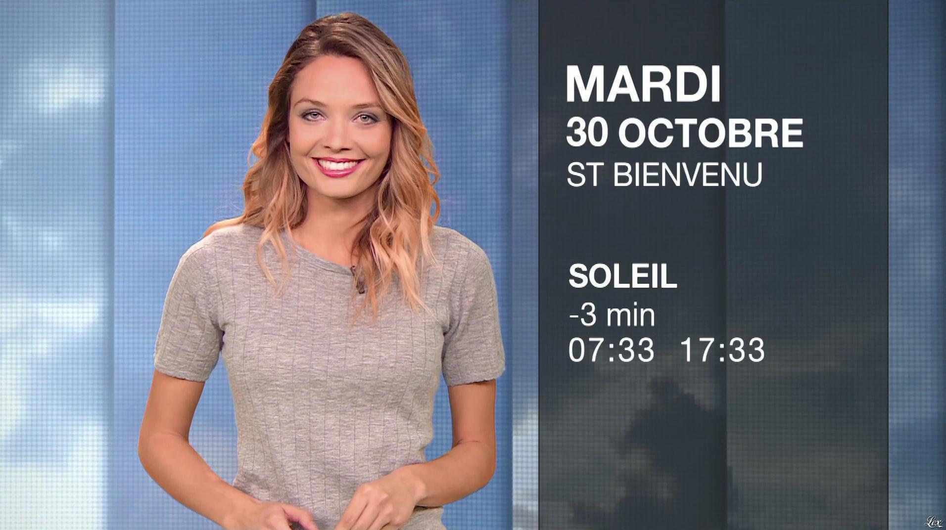 Gennifer Demey à la Météo du Soir. Diffusé à la télévision le 29/10/18.