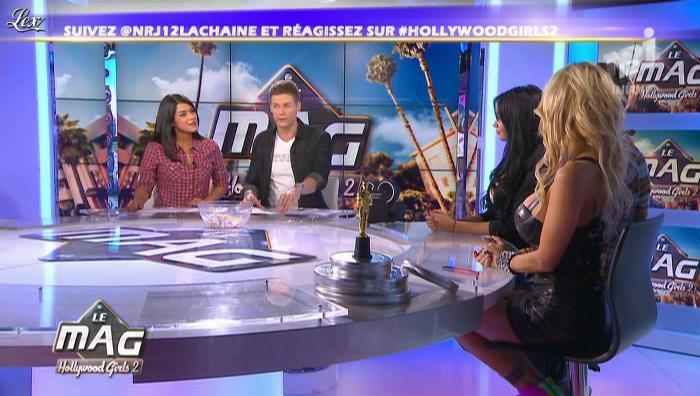 Shauna Sand et Ayem dans Hollywood Girls le Mag. Diffusé à la télévision le 31/10/12.