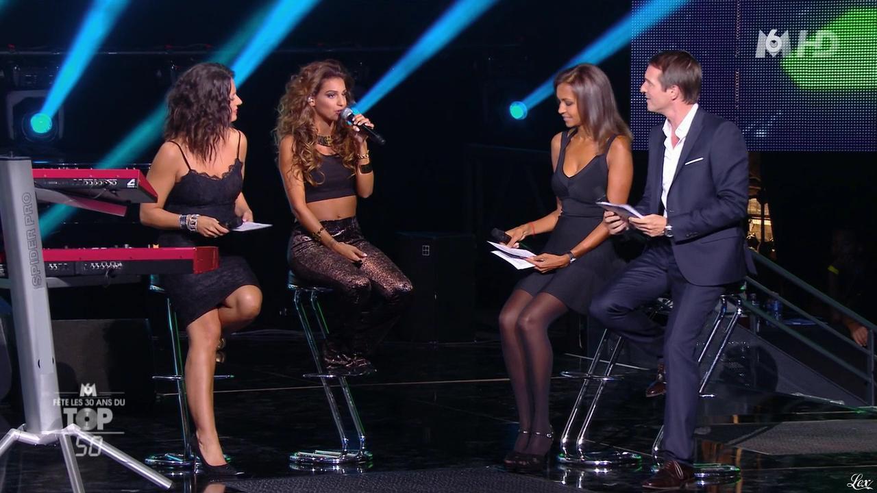 Karine Le Marchand, Tal et Faustine Bollaert dans M6 Fête les 30 Ans du Top 50. Diffusé à la télévision le 21/10/14.