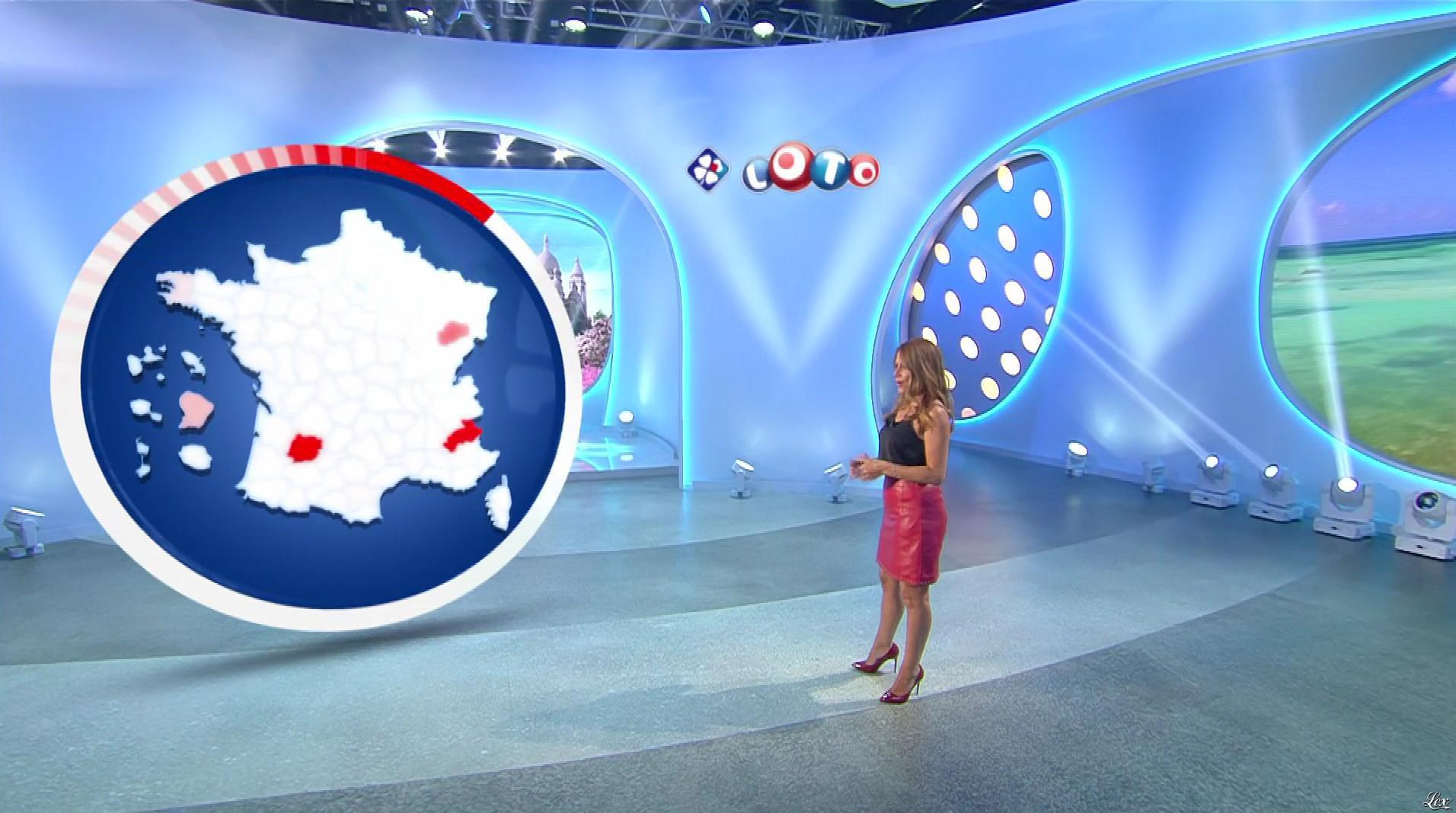 Elsa Fayer lors du Tirage du Loto. Diffusé à la télévision le 15/08/18.