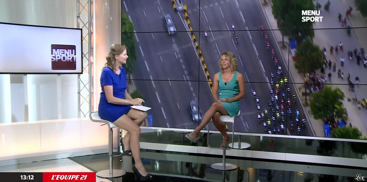 France Pierron et Marion Rousse dans Menu Sport. Diffusé à la télévision le 01/07/15.
