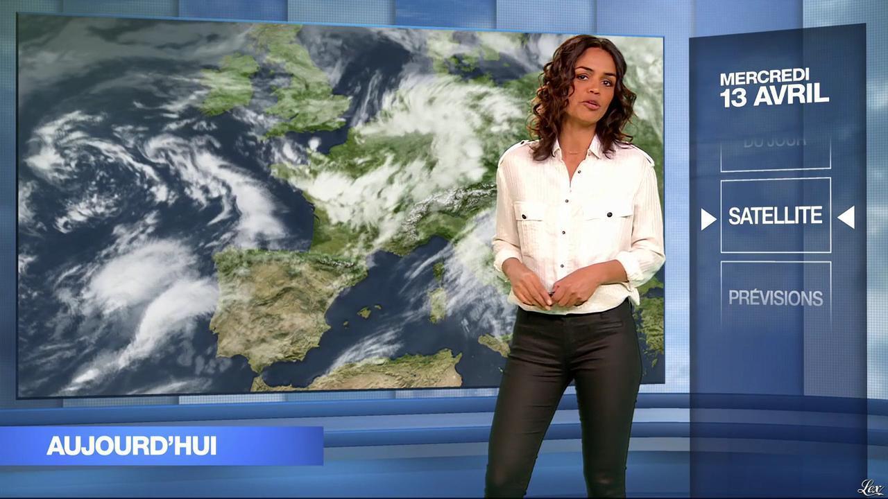 Laurence Roustandjee à la Météo du Soir. Diffusé à la télévision le 13/04/16.