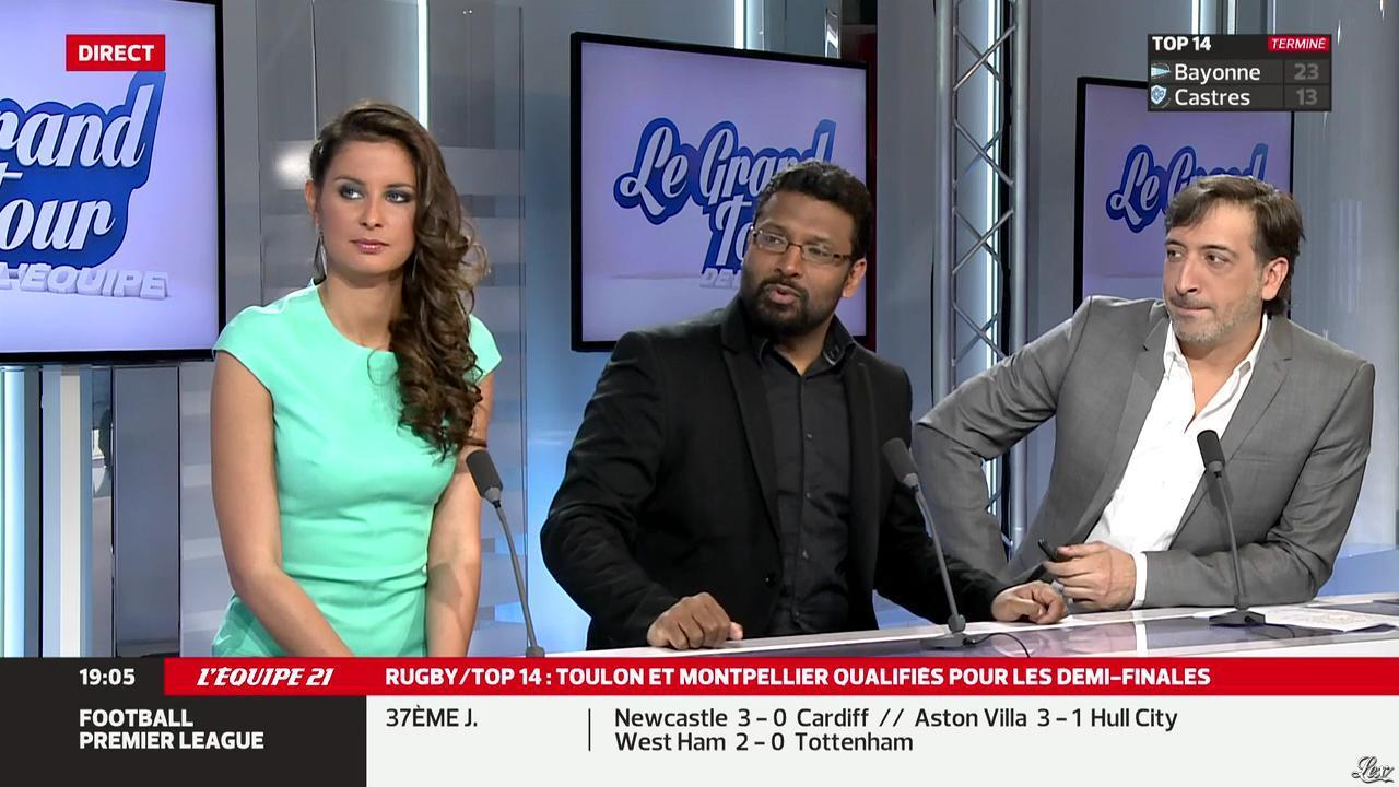 Malika Ménard dans le Grand Tour de l'Equipe. Diffusé à la télévision le 03/05/14.
