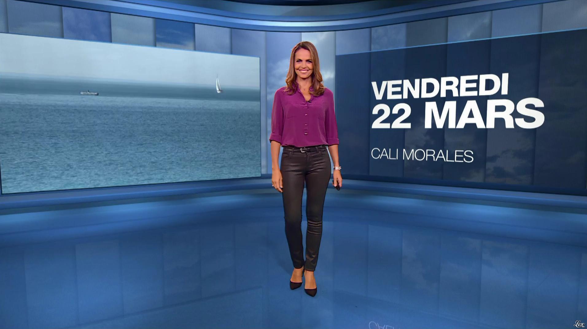 Cali Morales à la Météo du Soir. Diffusé à la télévision le 22/03/19.