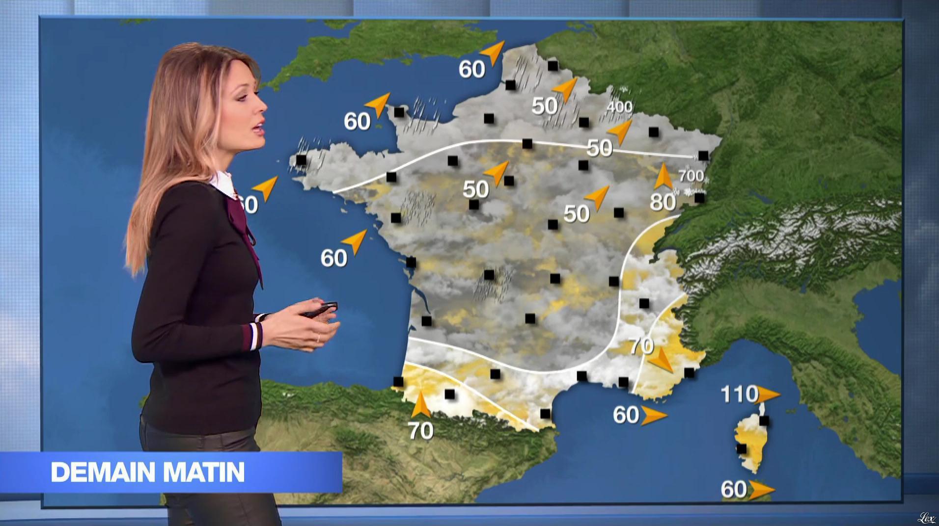Gennifer Demey à la Météo du Soir. Diffusé à la télévision le 04/03/19.