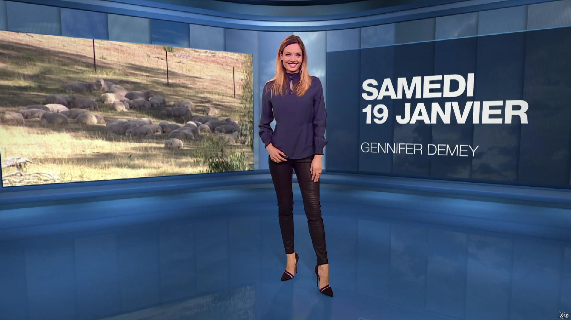 Gennifer Demey à la Météo du Soir. Diffusé à la télévision le 19/01/19.