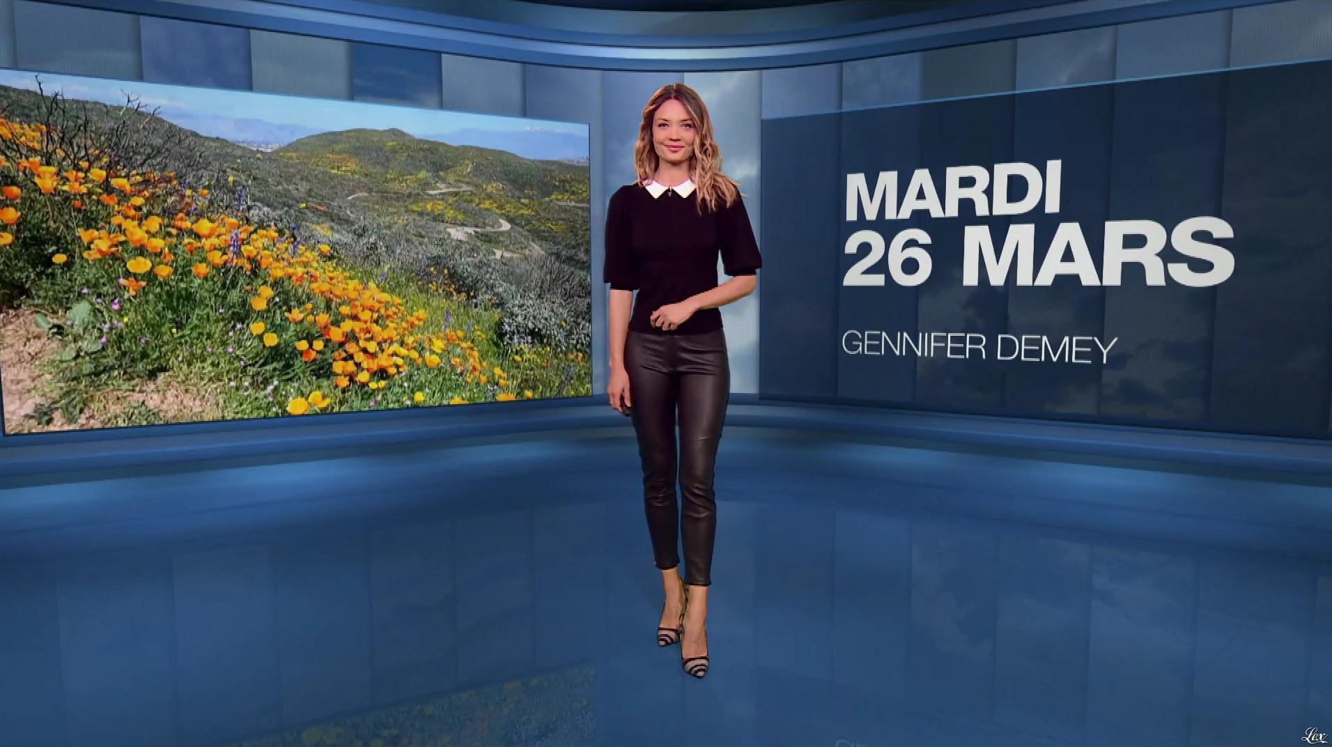 Gennifer Demey à la Météo du Soir. Diffusé à la télévision le 26/03/19.