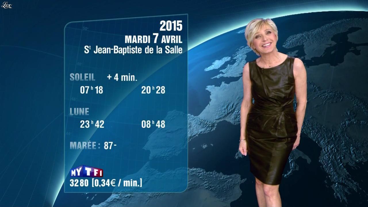 Evelyne Dhéliat à la Météo de 20h. Diffusé à la télévision le 06/04/15.