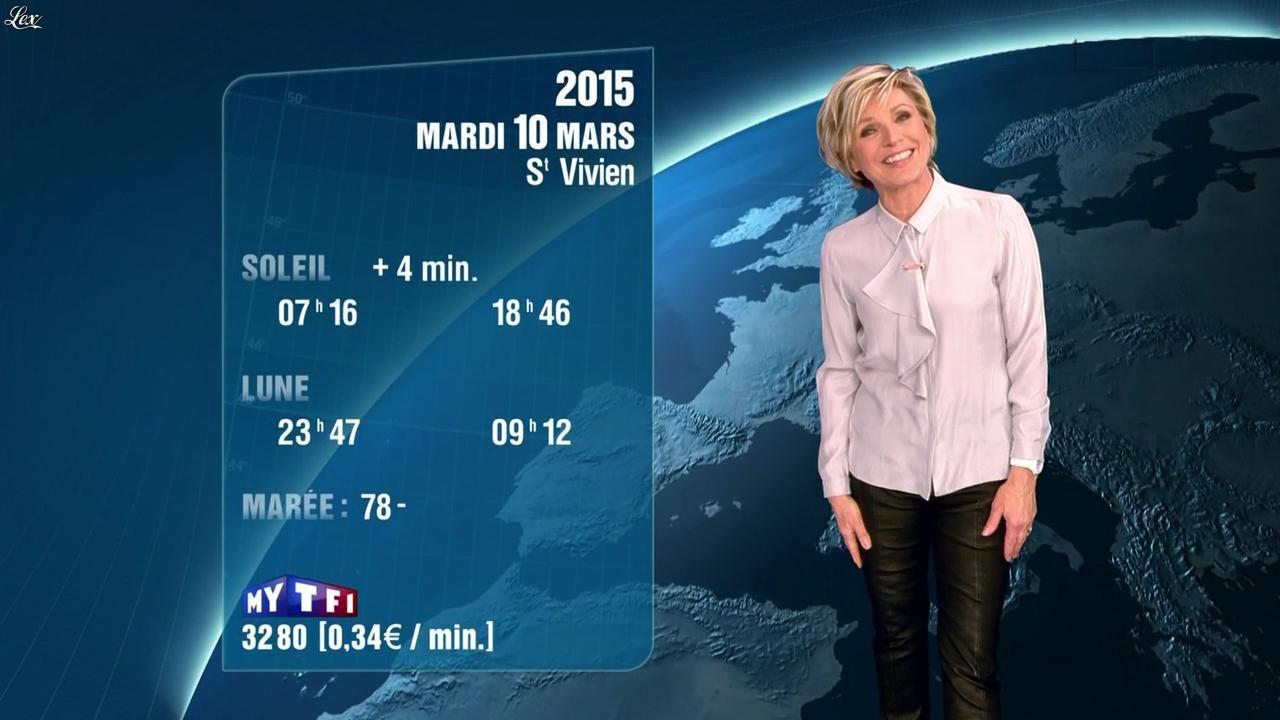 Evelyne Dhéliat à la Météo de 20h. Diffusé à la télévision le 09/03/15.