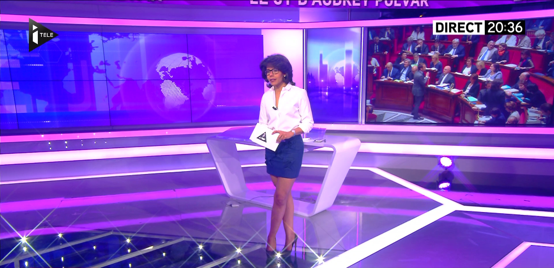 Audrey Pulvar dans le JT. Diffusé à la télévision le 03/05/16.
