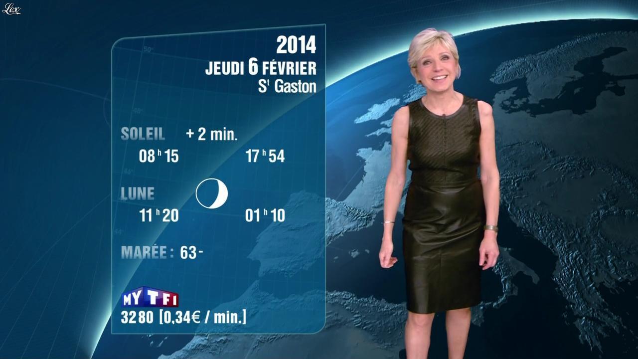 Evelyne Dhéliat à la Météo de 20h. Diffusé à la télévision le 05/02/14.