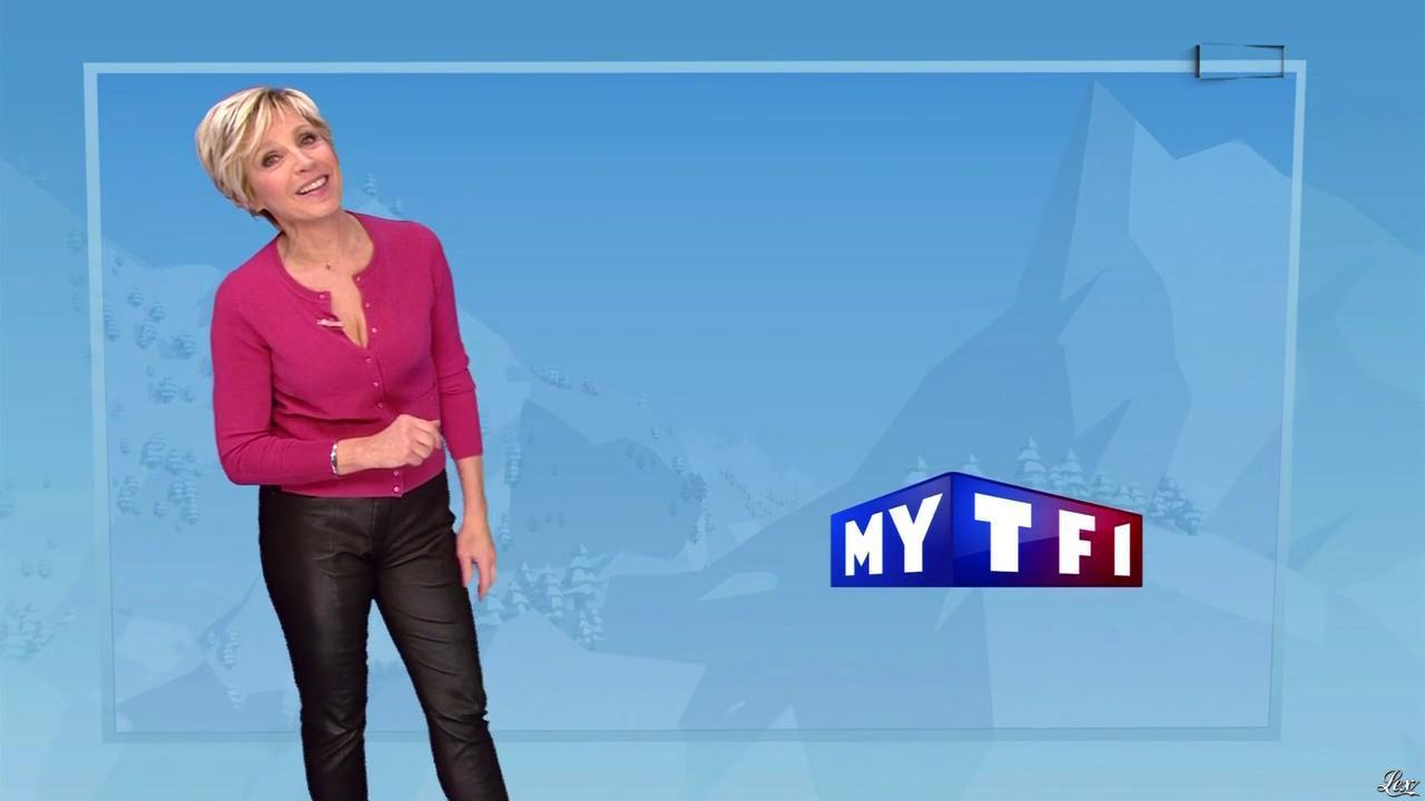 Evelyne Dhéliat à la Météo des Neiges. Diffusé à la télévision le 22/01/15.