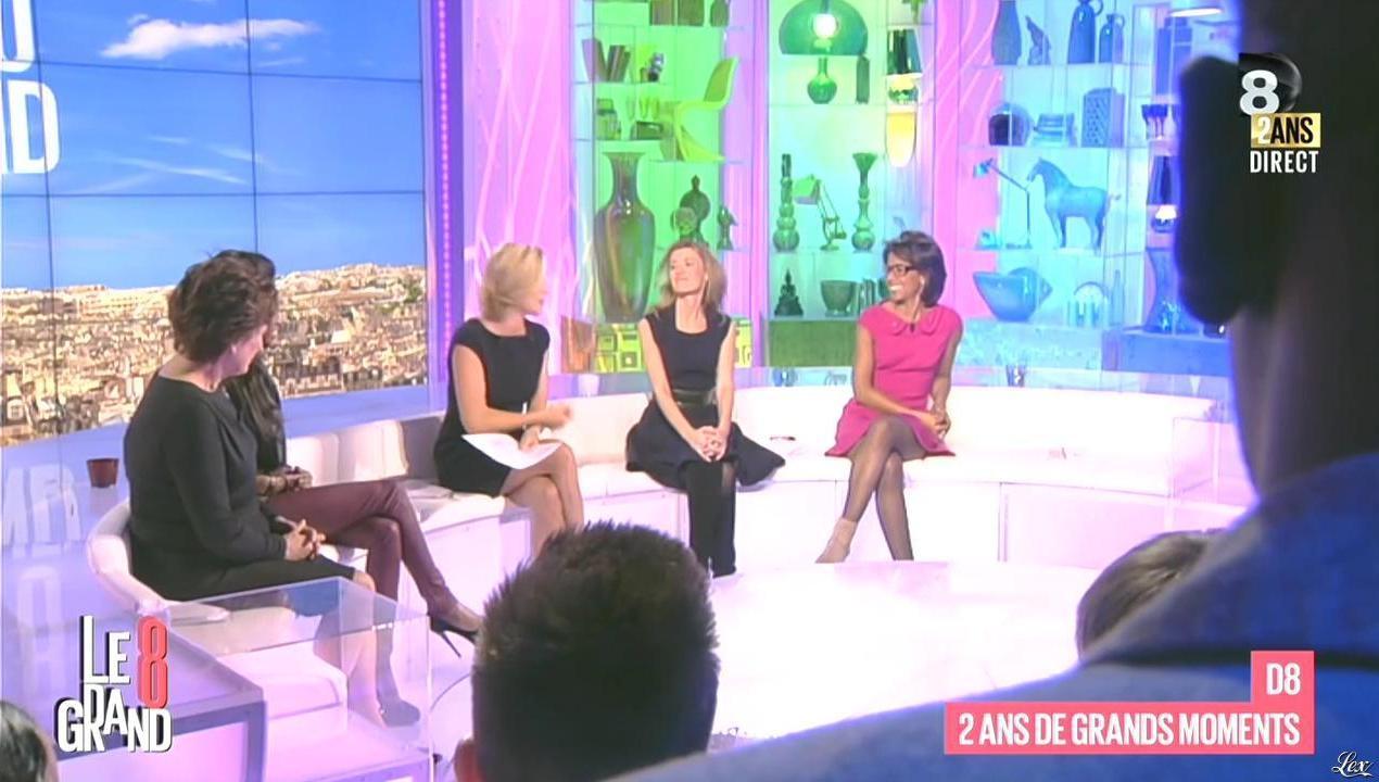 Laurence Ferrari, Audrey Pulvar et Hapsatou Sy dans le Grand 8. Diffusé à la télévision le 08/10/14.