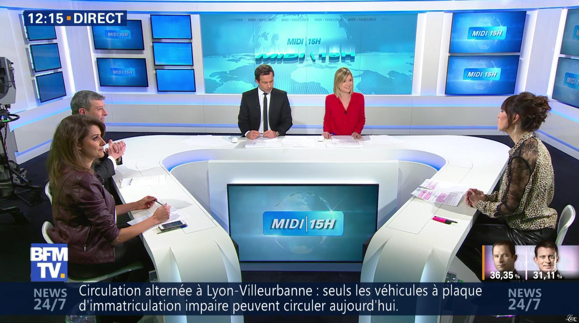 Fanny Agostini et Candice Mahout à la Météo de BFM TV. Diffusé à la télévision le 23/01/17.