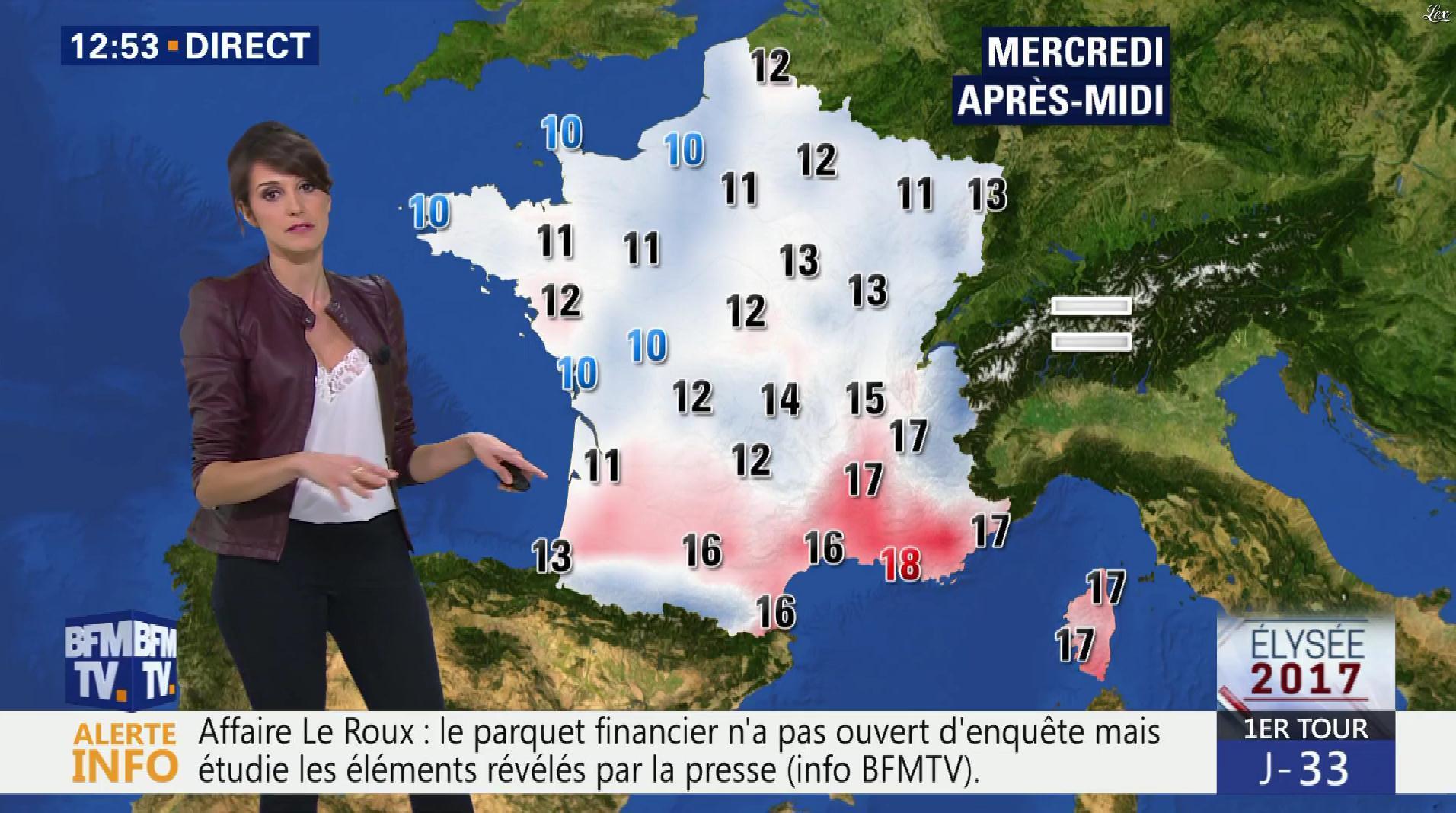 Fanny Agostini à la Météo de BFM TV. Diffusé à la télévision le 21/03/17.