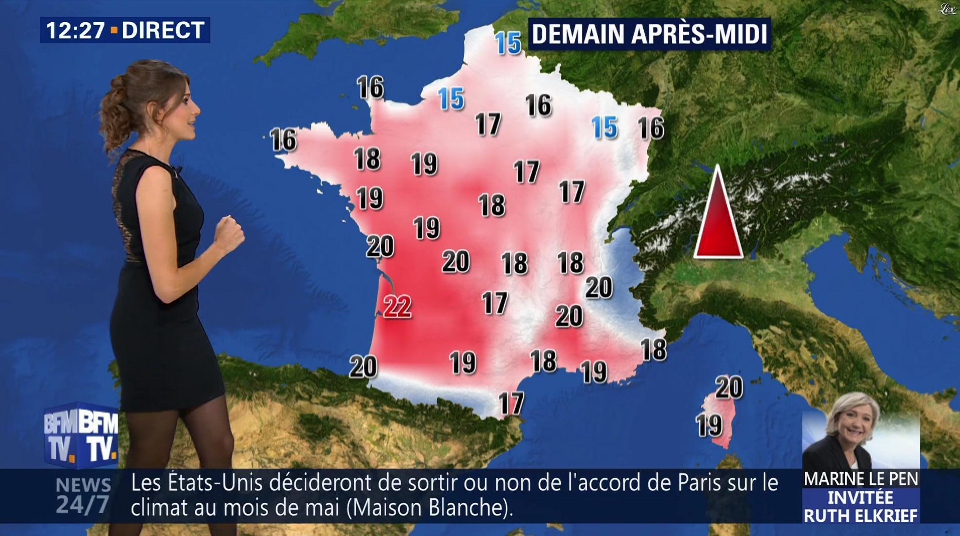Fanny Agostini à la Météo de BFM TV. Diffusé à la télévision le 28/04/17.