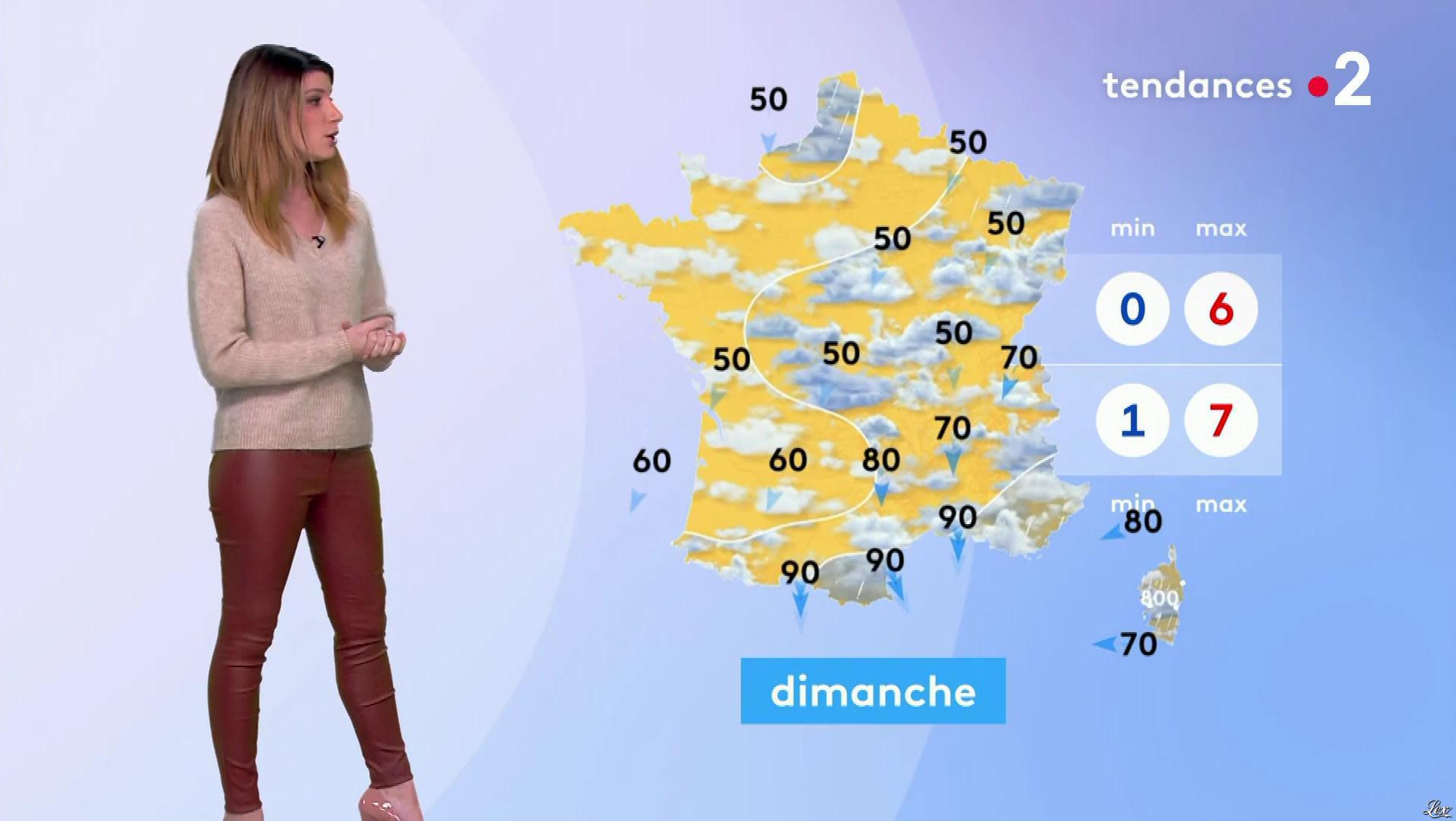 Chloé Nabédian à la Météo de Midi. Diffusé à la télévision le 17/01/20.